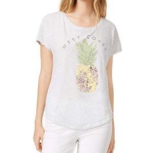 True Vintage Top Pineapple Graphic T-Shirt White